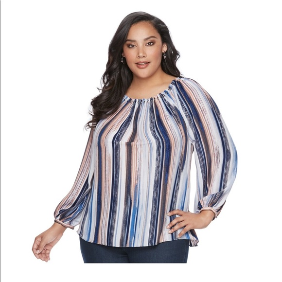 ae40881c5c7c04 Jennifer Lopez Tops | Plus Size Striped High Low Top | Poshmark